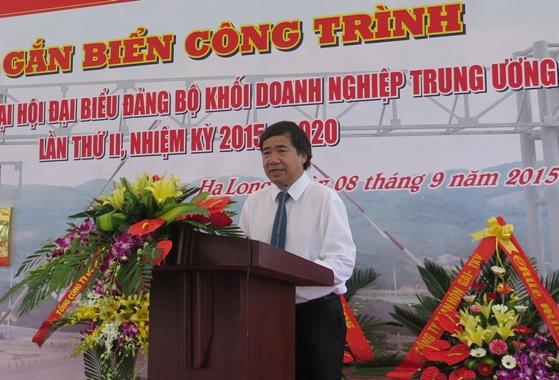Đồng chí Trần Hữu Bình - Phó Bí thư Đảng ủy Khối DNTW phát biểu tại buổi lễ
